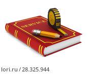 Купить «yellow tape measure and pencil and red book on white background. isolated 3d illustration», иллюстрация № 28325944 (c) Ильин Сергей / Фотобанк Лори