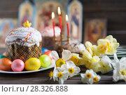 Купить «Easter cake and painted eggs», фото № 28326888, снято 14 апреля 2018 г. (c) Типляшина Евгения / Фотобанк Лори