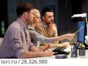 Купить «business team with computer working late at office», фото № 28326980, снято 26 ноября 2017 г. (c) Syda Productions / Фотобанк Лори
