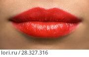 Купить «lips or mouth of woman with red lipstick», фото № 28327316, снято 5 января 2018 г. (c) Syda Productions / Фотобанк Лори