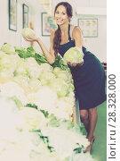 Купить «Woman holding fresh cabbage head on vegetables market», фото № 28328000, снято 14 ноября 2018 г. (c) Яков Филимонов / Фотобанк Лори