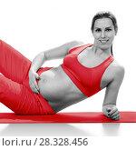 Portret of pregnant woman in sportswear, isolated on white. Стоковое фото, фотограф Владимир Мельников / Фотобанк Лори