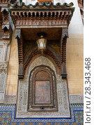 Купить «Ornaments and window, in Fes, Morocco», фото № 28343468, снято 16 февраля 2018 г. (c) Михаил Коханчиков / Фотобанк Лори