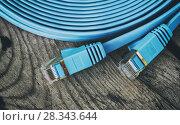 Купить «network cable with RJ45 connectors», фото № 28343644, снято 12 апреля 2018 г. (c) Александр Лычагин / Фотобанк Лори