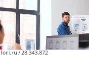 Купить «creative man at user interface presentation», видеоролик № 28343872, снято 17 апреля 2018 г. (c) Syda Productions / Фотобанк Лори