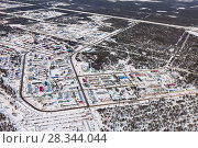 Купить «Vyngapurovsky is oilman's village in West Siberia, bird's eye view», фото № 28344044, снято 22 марта 2017 г. (c) Владимир Мельников / Фотобанк Лори