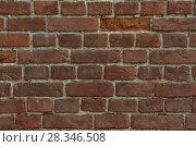 Купить «Грубая текстура старой красной кирпичной стены», фото № 28346508, снято 13 апреля 2018 г. (c) Евгений Бусурманов / Фотобанк Лори
