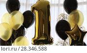Купить «Decoration for 1 years birthday, anniversary», видеоролик № 28346588, снято 28 апреля 2018 г. (c) Ekaterina Demidova / Фотобанк Лори