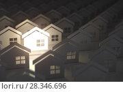 Купить «Unique lighting house sign in group of houses. Real estate property industry concept background.», фото № 28346696, снято 16 августа 2018 г. (c) Maksym Yemelyanov / Фотобанк Лори