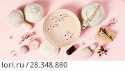 Купить «SPA settings on pink background», фото № 28348880, снято 4 апреля 2018 г. (c) Наталия Кленова / Фотобанк Лори