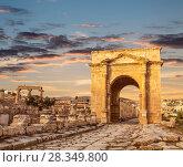Купить «North Gate, Ancient Roman city of Gerasa of Antiquity, modern Jerash, Jordan», фото № 28349800, снято 3 ноября 2016 г. (c) Наталья Волкова / Фотобанк Лори