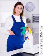 Купить «Female cleaner at work», фото № 28356152, снято 19 июля 2018 г. (c) Яков Филимонов / Фотобанк Лори