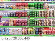Купить «Различные виды молочной продукции на витрине продовольственного магазина. METRO Expo 2018, Москва», фото № 28356440, снято 23 марта 2018 г. (c) Владимир Сергеев / Фотобанк Лори