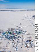 Купить «Oilman's village in Yamal, bird's eye view», фото № 28358024, снято 1 апреля 2017 г. (c) Владимир Мельников / Фотобанк Лори