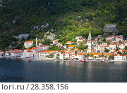 Купить «Montenegro. Top view of the beautiful old town of Perast on the coast of the Kotor Bay and the bell tower of the St. Nicholas Church», фото № 28358156, снято 8 октября 2016 г. (c) Виктория Катьянова / Фотобанк Лори
