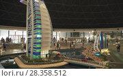Exhibition of mock-ups Jumeirah Beach Hotel and Burj Al Arab Hotel made of Lego pieces in Miniland Legoland at Dubai Parks and Resorts stock footage video (2018 год). Редакционное видео, видеограф Юлия Машкова / Фотобанк Лори