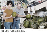 Купить «Adult male and female are choosing green melons in the store.», фото № 28358680, снято 22 октября 2017 г. (c) Яков Филимонов / Фотобанк Лори