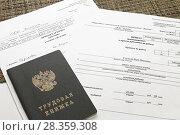 Купить «Трудовая книжка, приказ о приеме на работу, личная карточка», фото № 28359308, снято 25 апреля 2018 г. (c) EgleKa / Фотобанк Лори