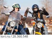 Купить «Довольные и счастливые мотоциклистки на мотоциклах», фото № 28360548, снято 30 апреля 2018 г. (c) Кекяляйнен Андрей / Фотобанк Лори