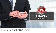 Купить «Firewall secured text with shield icon and man using phone», фото № 28361060, снято 11 декабря 2019 г. (c) Wavebreak Media / Фотобанк Лори