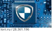 Купить «Antivirus security protection shield on circuit board», фото № 28361196, снято 11 декабря 2018 г. (c) Wavebreak Media / Фотобанк Лори