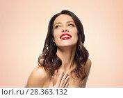 Купить «beautiful smiling young woman with red lipstick», фото № 28363132, снято 5 января 2018 г. (c) Syda Productions / Фотобанк Лори
