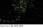 Купить «Fireworks flashing in the evening», видеоролик № 28365656, снято 28 апреля 2018 г. (c) Игорь Жоров / Фотобанк Лори