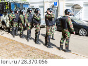 Купить «Special Forces soldiers of the police during an opposition protest rally», фото № 28370056, снято 5 мая 2018 г. (c) FotograFF / Фотобанк Лори