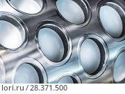 Купить «Fragment of a molding drum machine for making food semi-finished products.», фото № 28371500, снято 17 июня 2016 г. (c) Андрей Радченко / Фотобанк Лори