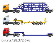 Купить «Semi trucks set isolated on white», иллюстрация № 28372676 (c) Александр Володин / Фотобанк Лори
