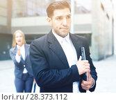 Купить «Sad man is upset with the reprimand for the results of the financial report», фото № 28373112, снято 20 августа 2017 г. (c) Яков Филимонов / Фотобанк Лори