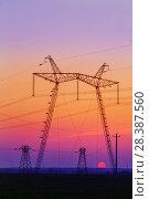 Купить «power line at sunset», фото № 28387560, снято 3 мая 2018 г. (c) Майя Крученкова / Фотобанк Лори