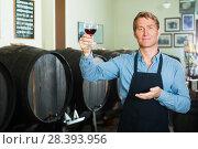 Купить «winemaker holding glass of wine in cellar», фото № 28393956, снято 23 июля 2018 г. (c) Яков Филимонов / Фотобанк Лори