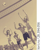 Купить «friends playing volleyball», фото № 28394056, снято 15 октября 2018 г. (c) Яков Филимонов / Фотобанк Лори