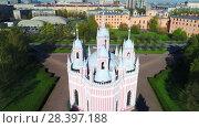 Купить «Купола Чесменской церкви крупным планом. Санкт-Петербург (аэросъемка)», видеоролик № 28397188, снято 11 мая 2018 г. (c) Виктор Карасев / Фотобанк Лори