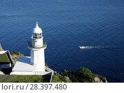 Купить «Маяк на мысе Земли (Cape Chikyu) в городе Муроран, Хоккайдо, Япония», фото № 28397480, снято 9 августа 2008 г. (c) Александр Гаценко / Фотобанк Лори