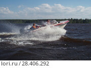Купить «Бело-красная моторная лодка на реке летом плывет по волнам с брызгами на фоне голубого неба с облаками», фото № 28406292, снято 12 июня 2010 г. (c) Илья Илмарин / Фотобанк Лори