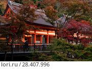 Купить «Amida-do and Okuno-in hall of Kiyomizu-dera Buddhist temple in autumn scenery. Kyoto, Japan.», фото № 28407996, снято 20 ноября 2017 г. (c) age Fotostock / Фотобанк Лори