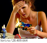 Купить «Wedding memories. Broken heart woman. Family break up.», фото № 28409664, снято 21 июля 2018 г. (c) Gennadiy Poznyakov / Фотобанк Лори