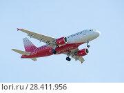 Купить «Airbus A319-100 of Rossiya - Russian Airlines. Board number VP-BQK. Before landing in the Pulkovo Airport», фото № 28411956, снято 8 мая 2018 г. (c) Ольга Визави / Фотобанк Лори