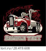 Купить «Cartoon retro semi truck», иллюстрация № 28419608 (c) Александр Володин / Фотобанк Лори
