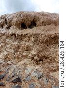 Купить «Травертины, отложение солей на склоне горы из-за выхода минерального источника на поверхность. Крестовый перевал, Georgia, Mtskheta-Mtianeti, Sioni», эксклюзивное фото № 28426184, снято 15 июля 2017 г. (c) Алексей Гусев / Фотобанк Лори