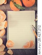 Купить «Notebook surrounded by fruit», фото № 28427212, снято 10 декабря 2018 г. (c) Яков Филимонов / Фотобанк Лори