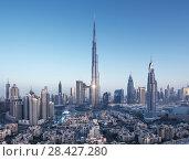 Купить «Dubai skyline, United Arab Emirates», фото № 28427280, снято 10 марта 2018 г. (c) Iakov Kalinin / Фотобанк Лори