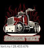 Купить «Cartoon retro semi truck», иллюстрация № 28433676 (c) Александр Володин / Фотобанк Лори