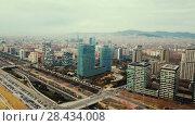 Купить «Panoramic view of modern areas in coastal zone of Barcelona», видеоролик № 28434008, снято 15 марта 2018 г. (c) Яков Филимонов / Фотобанк Лори