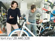 Купить «female and male looking sport bike», фото № 28440328, снято 8 января 2018 г. (c) Яков Филимонов / Фотобанк Лори