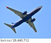 Купить «Sheremetyevo, Russia - May 09. 2018. Boeing 737 of airline Aeroflot», фото № 28440712, снято 9 мая 2018 г. (c) Володина Ольга / Фотобанк Лори