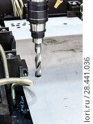 Купить «CNC Coordinate drilling machine. The drill bit is installed in the drill chuck.», фото № 28441036, снято 10 ноября 2016 г. (c) Андрей Радченко / Фотобанк Лори