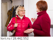 Купить «woman with bag leave the friend's female», фото № 28442552, снято 22 ноября 2017 г. (c) Яков Филимонов / Фотобанк Лори